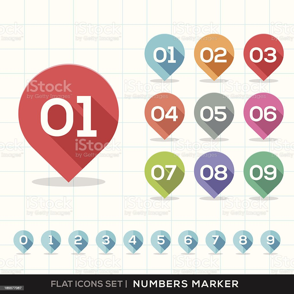 Numbers Pin Marker Flat Icons Set for GPS or Map vector art illustration
