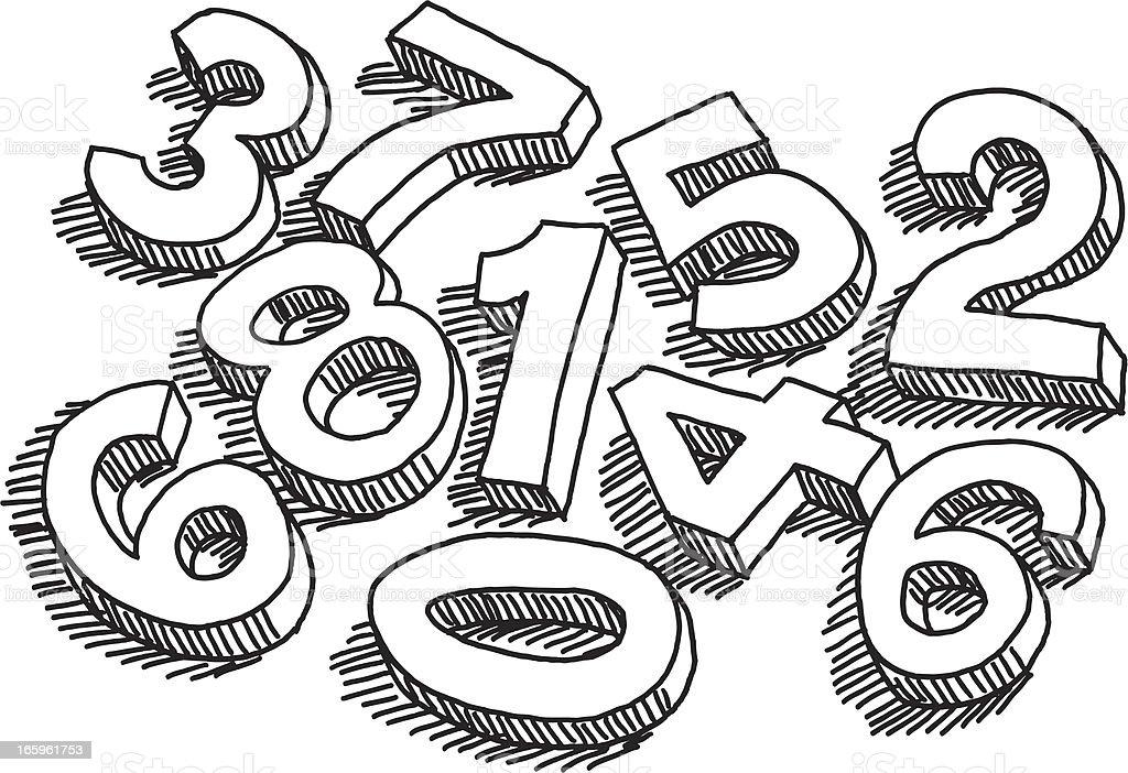 Numbers Randomly Sorted Drawing vector art illustration