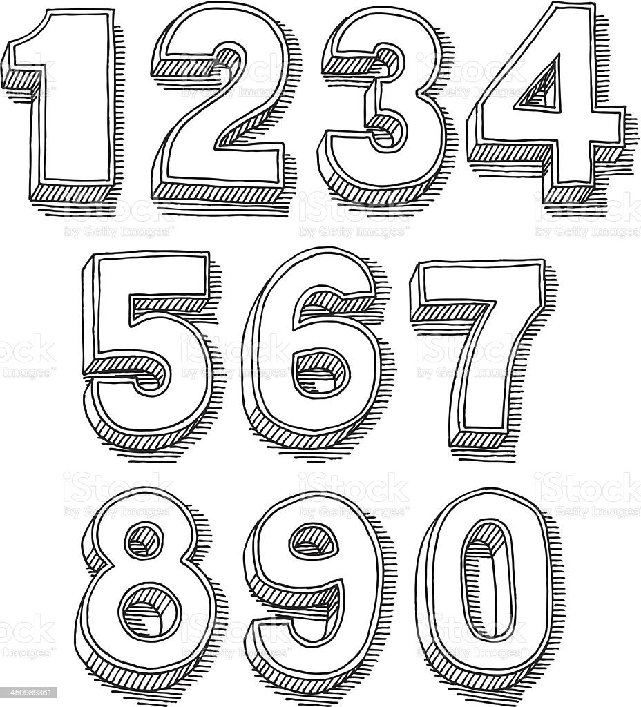 3D Numbers Set Drawing vector art illustration