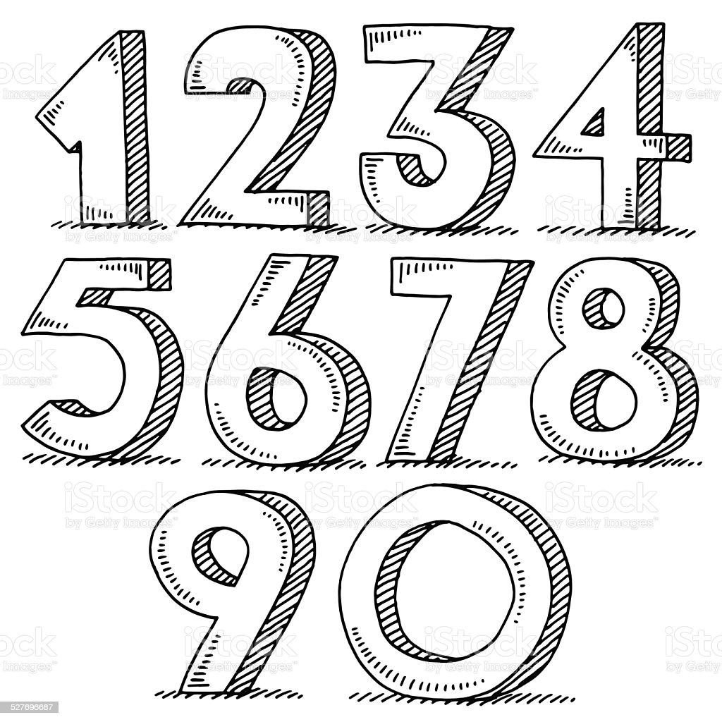 Numbers Set Drawing vector art illustration