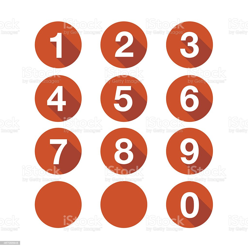 Numbers set. Vector button vector art illustration