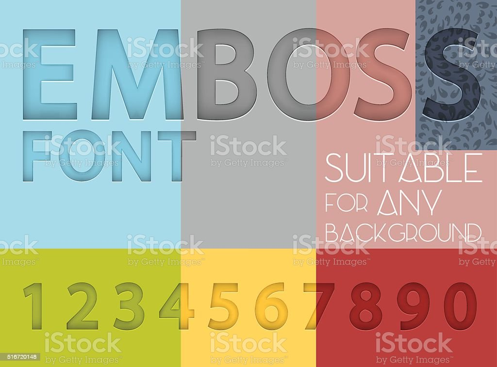 Numbers with emboss effect suitable for any background vector art illustration