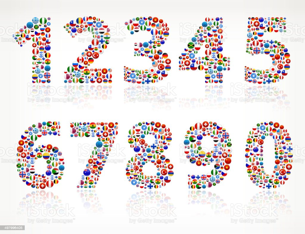 Numbers World Flags royalty free graphic vector art illustration