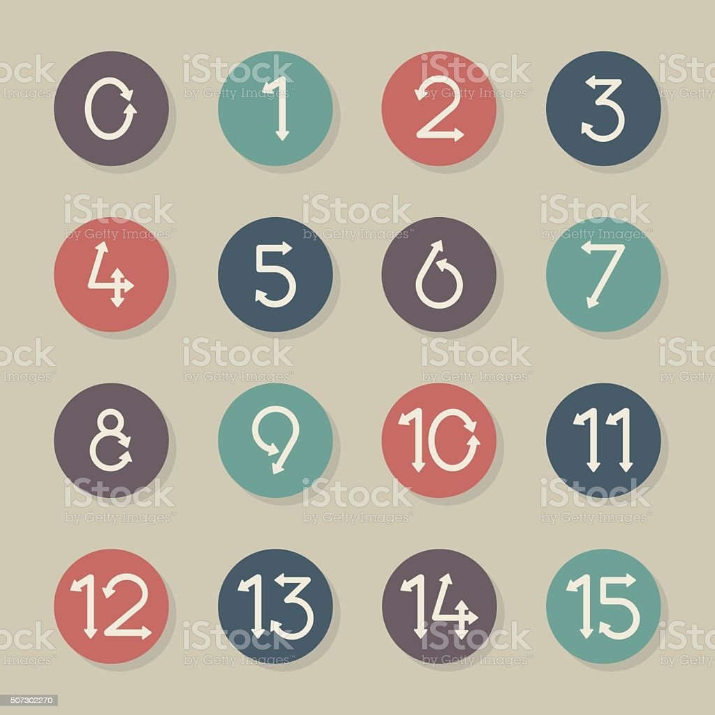 Numeric Arrow Icons - Color Circle Series vector art illustration