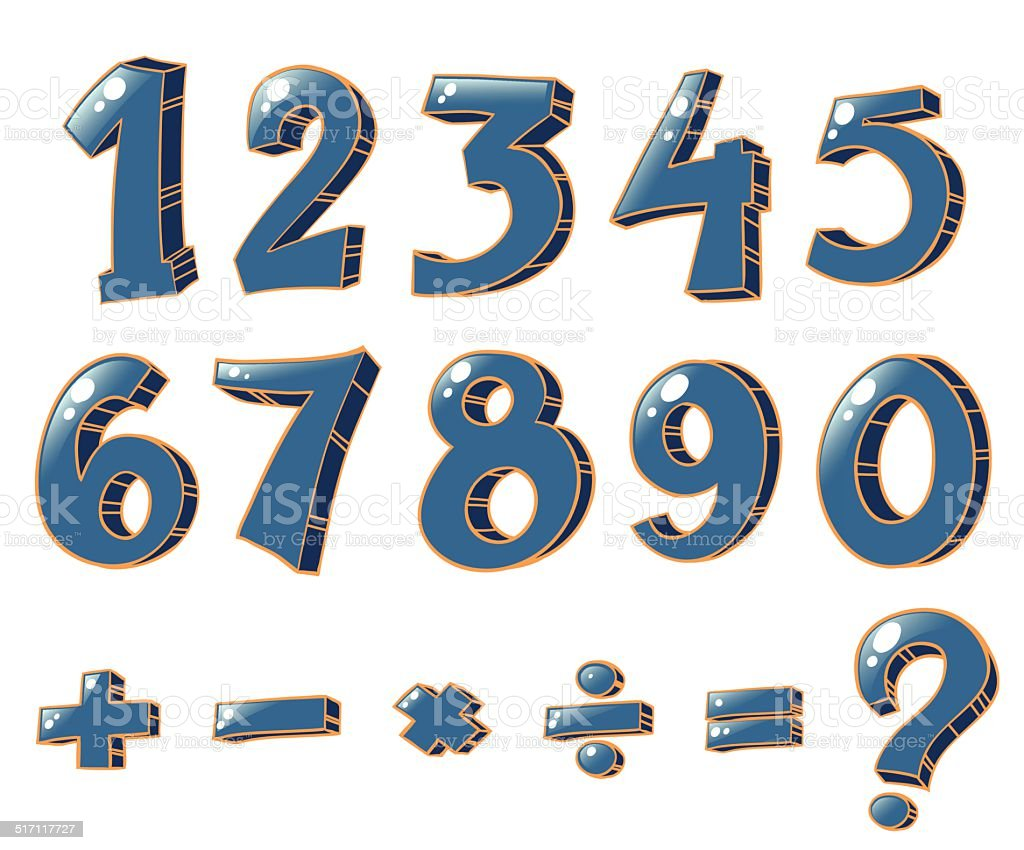 Numeric figures and mathematical operations vector art illustration
