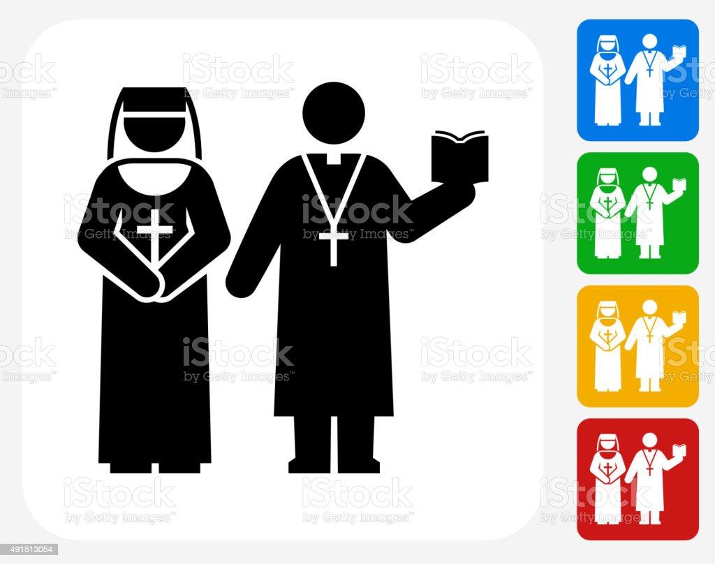 Nun and Priest Icon Flat Graphic Design vector art illustration