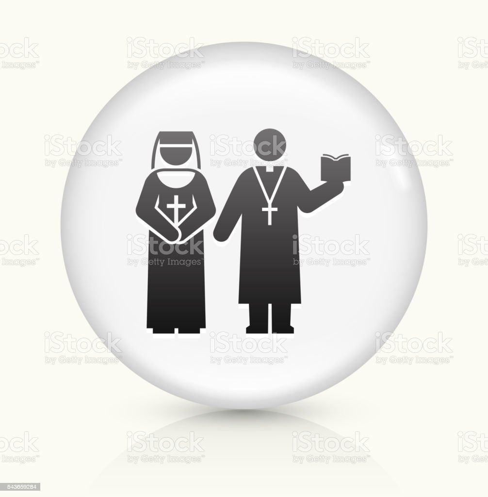 Nun and Priest icon on white round vector button vector art illustration