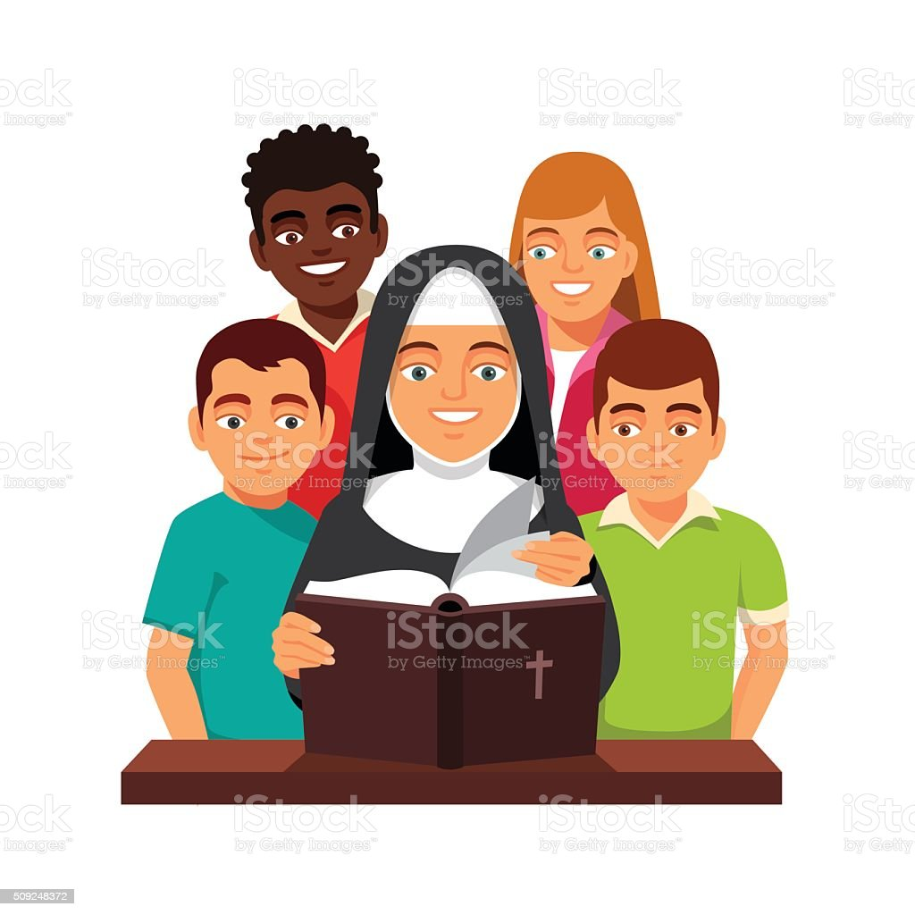Nun is reading Holy Bible to mixed race teens vector art illustration