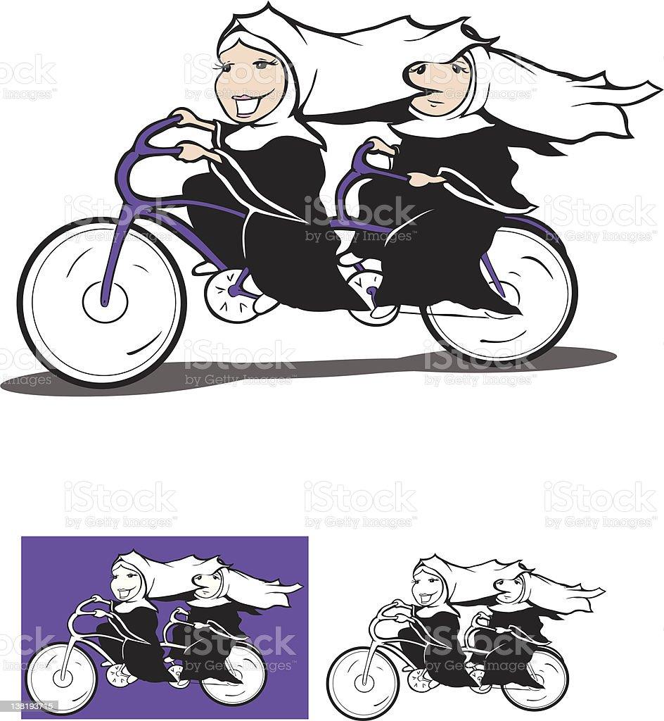 nuns on a bike vector art illustration