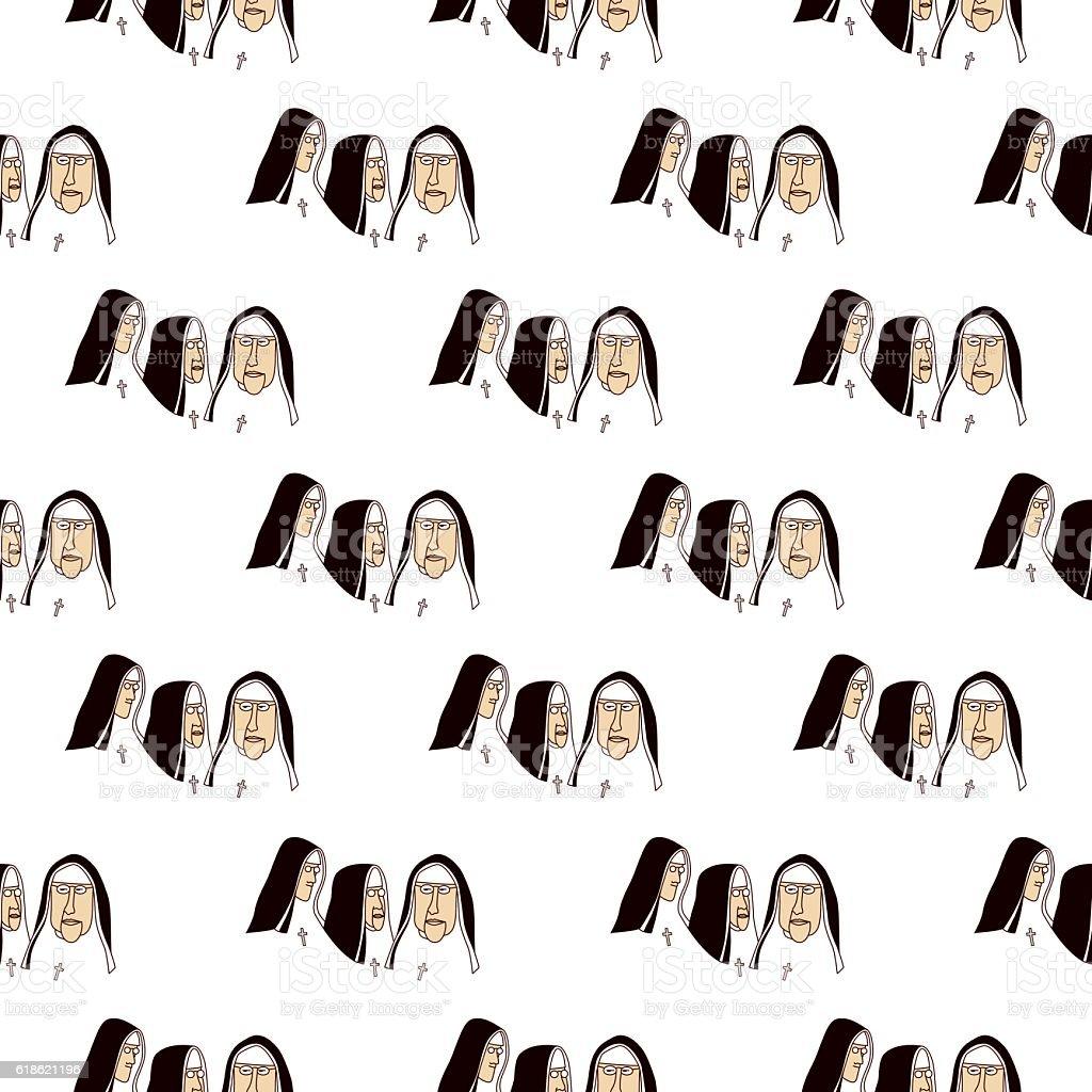 Nuns Seamless Pattern vector art illustration