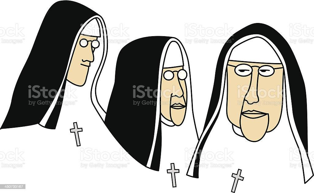 nuns vector art illustration