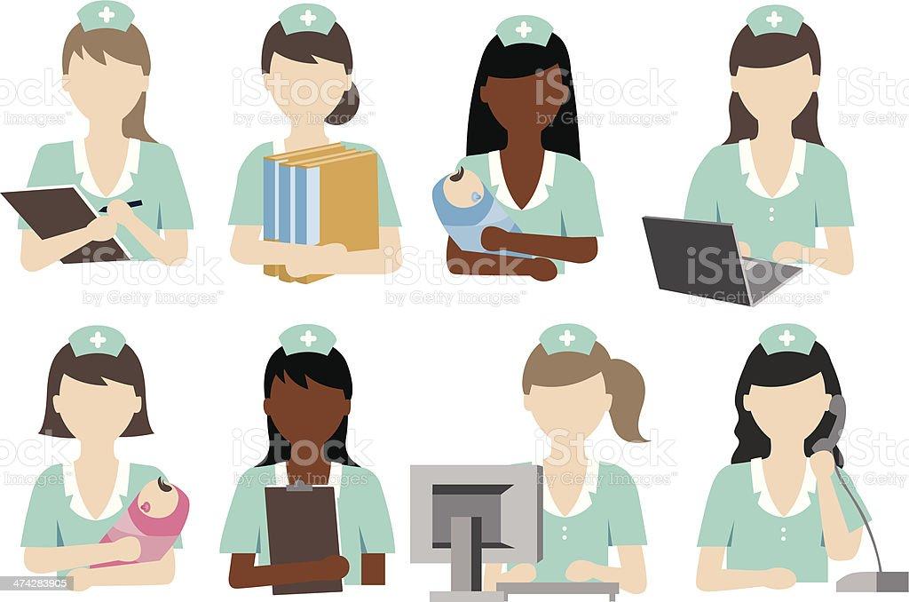 nurse activity vector art illustration
