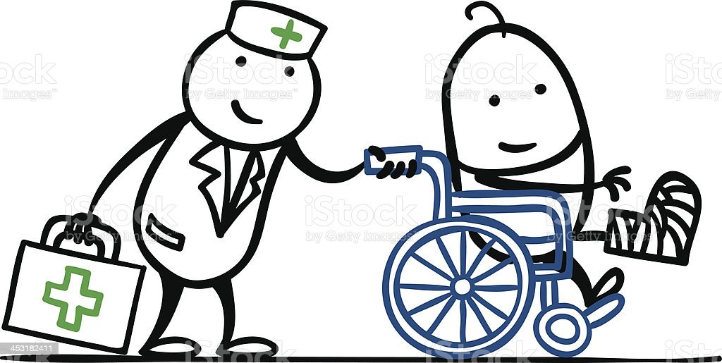 Nurse and patient in wheelchair royalty-free stock vector art