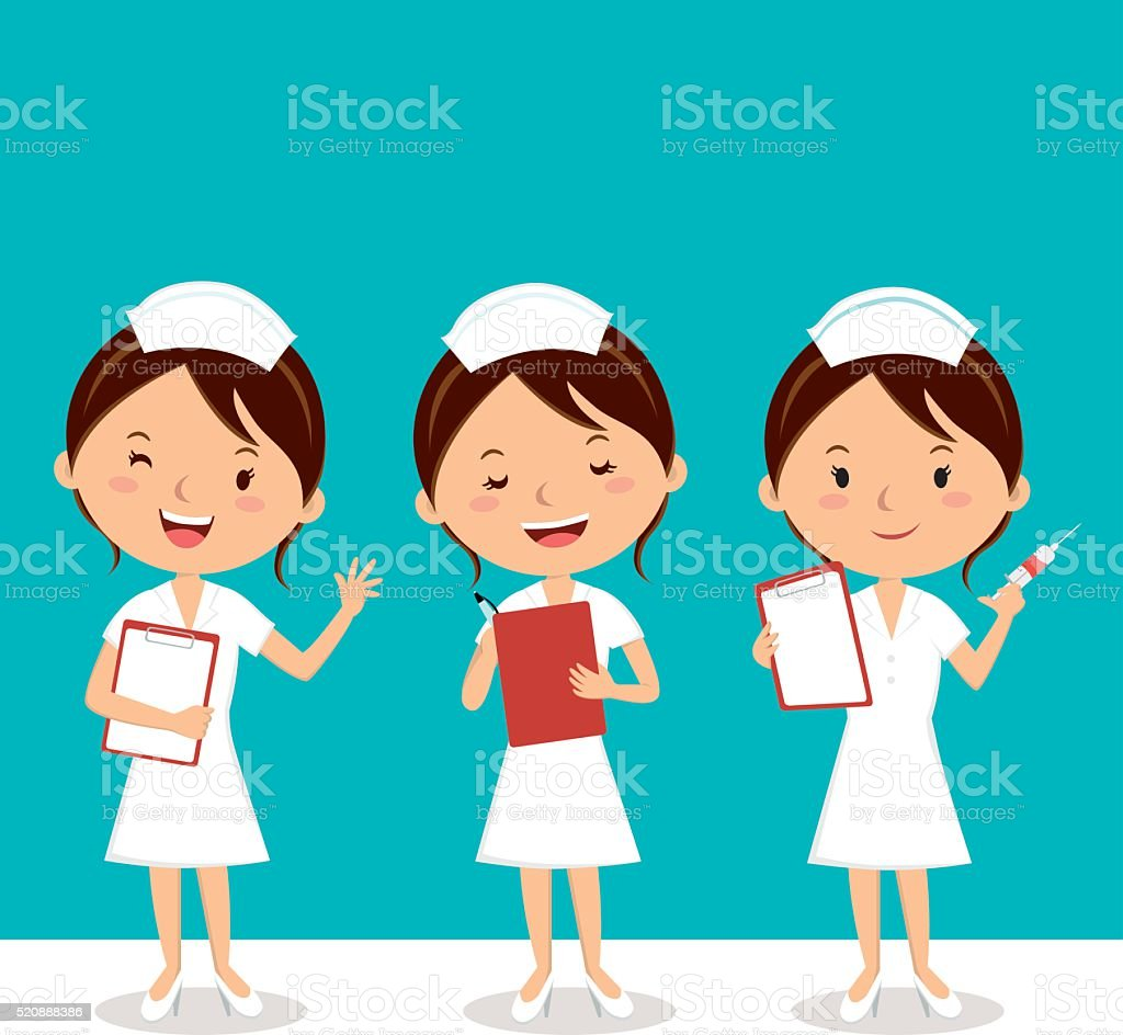 Nurse at work vector art illustration