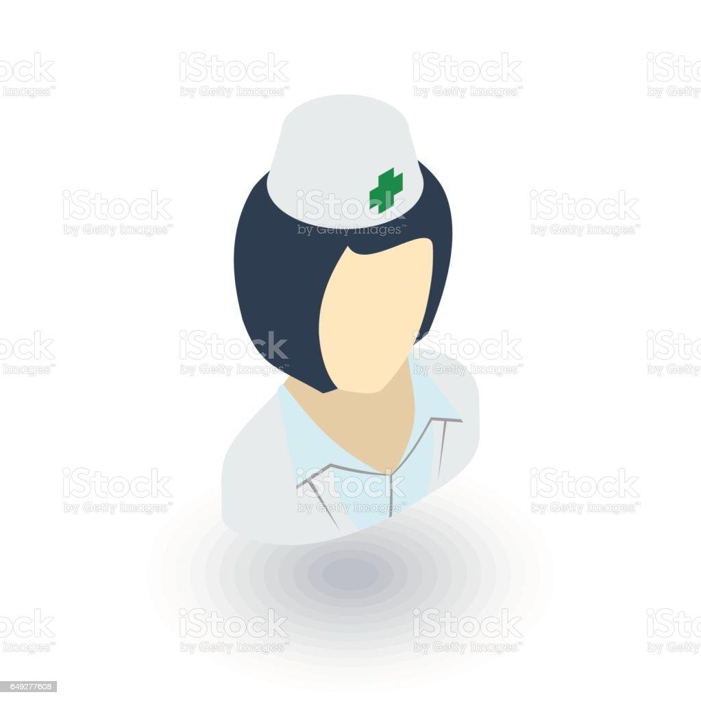 nurse avatar, doctor isometric flat icon. 3d vector vector art illustration