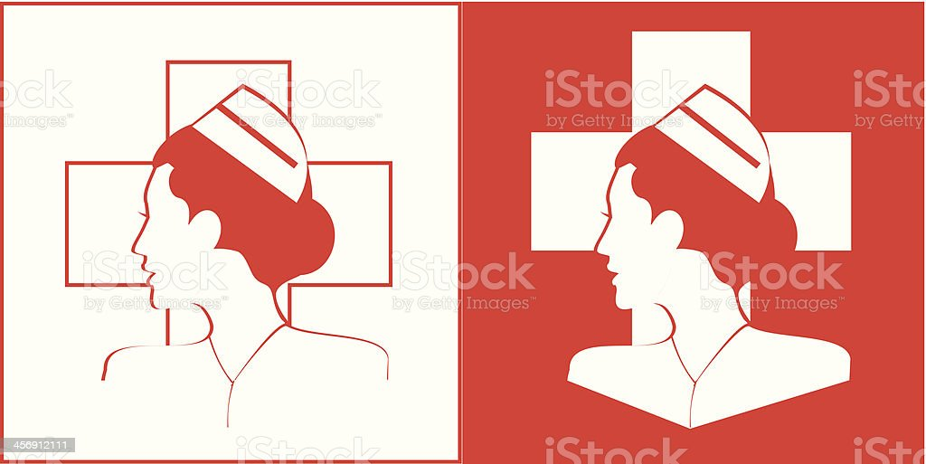 Nurse & Cross in white and red background vector art illustration