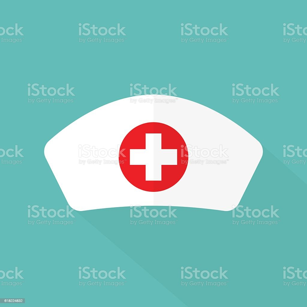 Nurse hat flat design vector art illustration