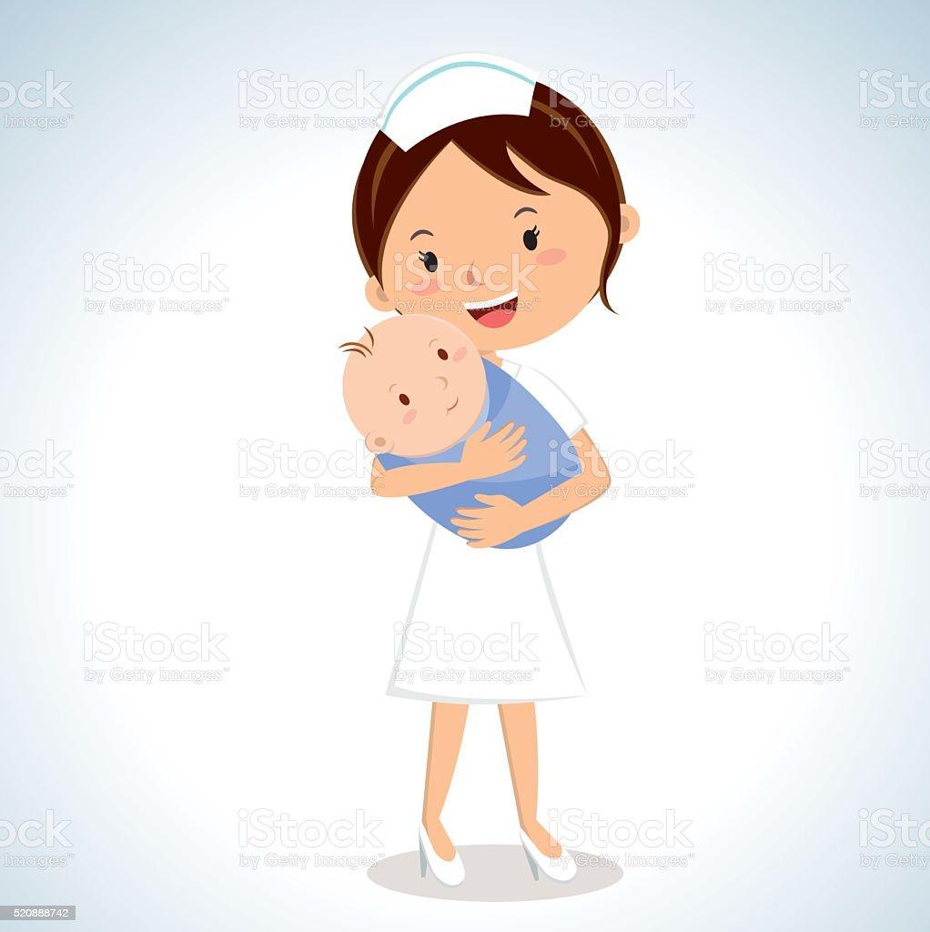 Nurse holding baby boy vector art illustration
