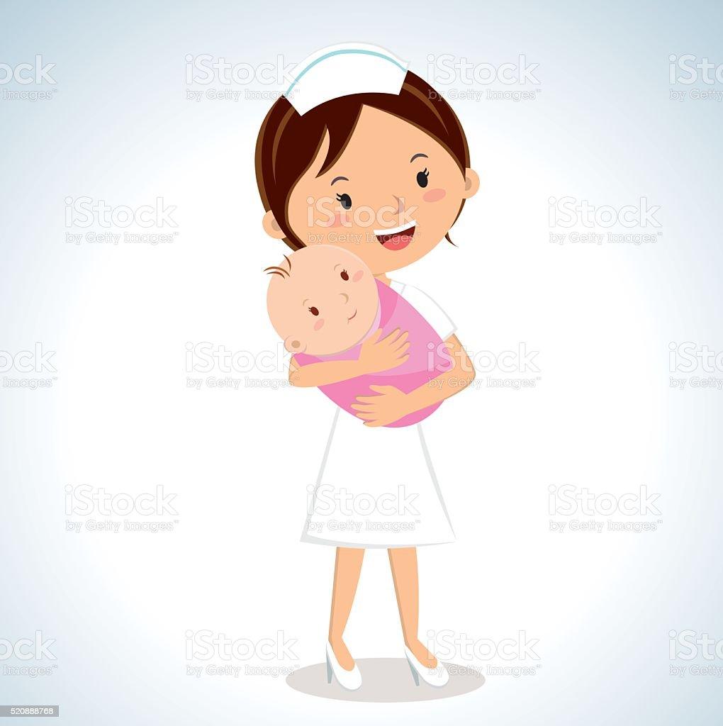 Nurse holding baby girl vector art illustration