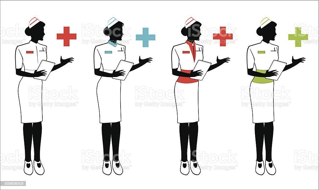 Nurse in various uniform vector art illustration