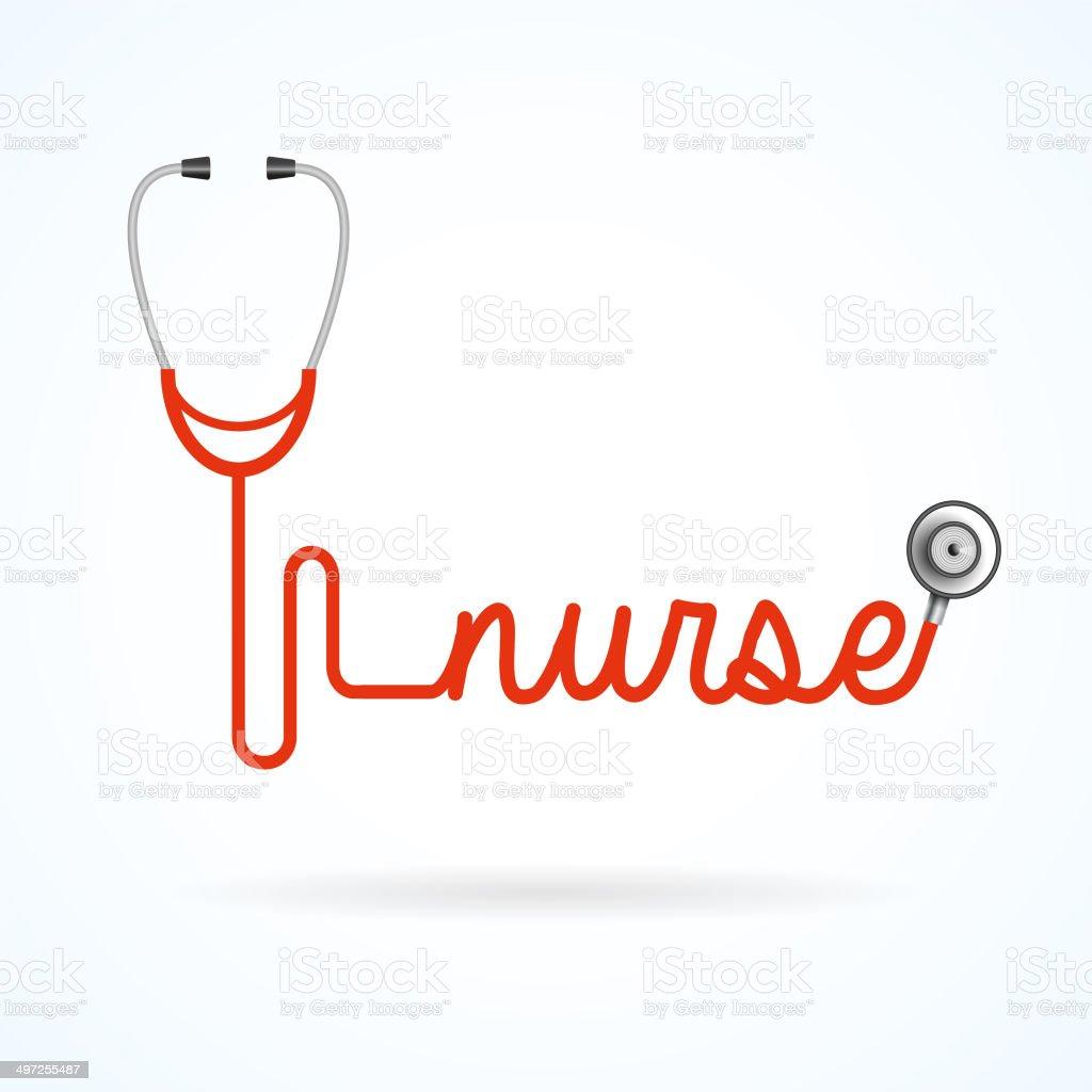 Nurse stethoscope vector art illustration