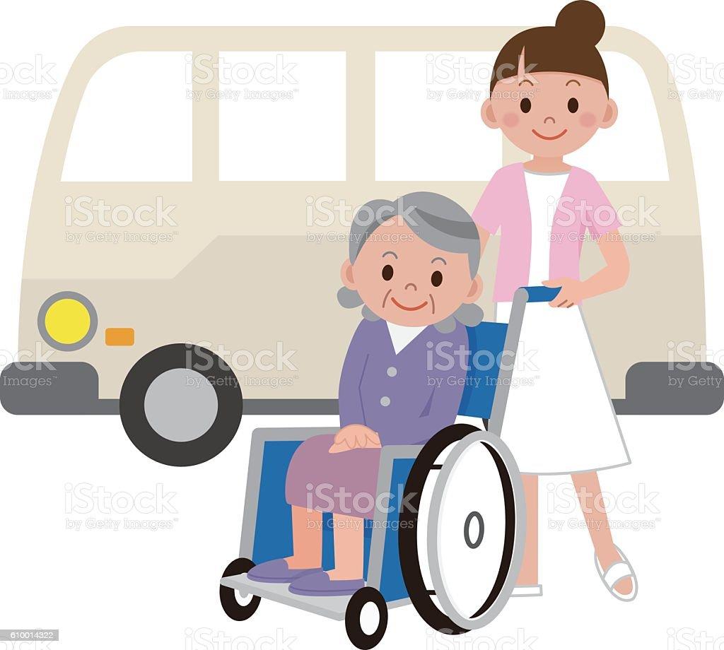 Nurse to pick a senior woman in a wheelchair vector art illustration