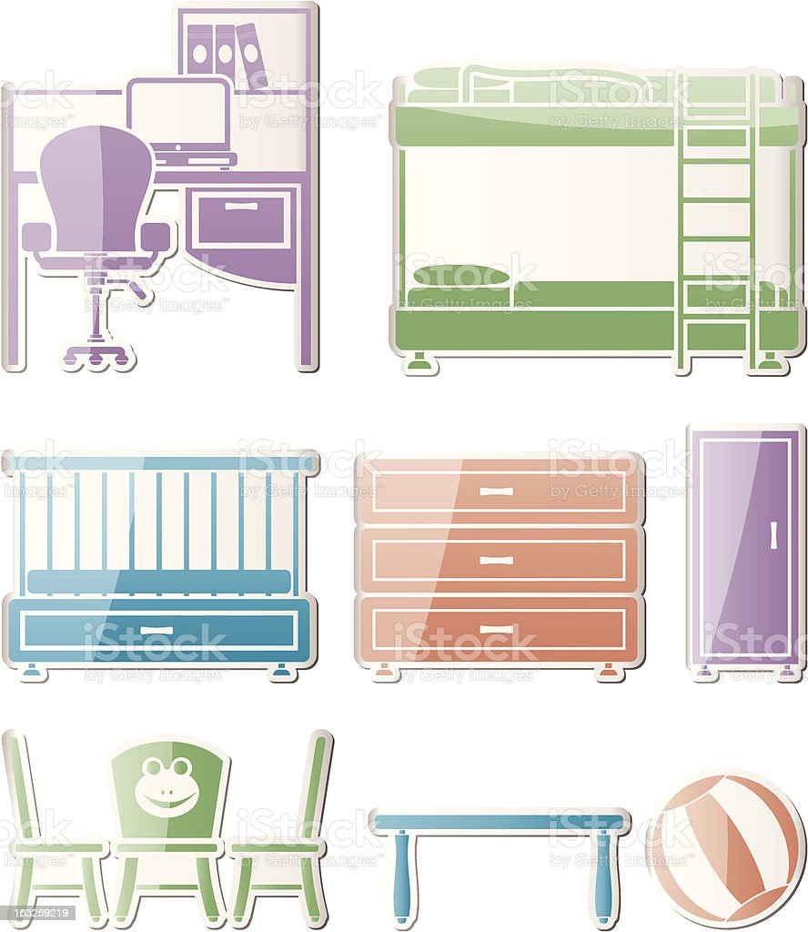 nursery and children room objects royalty-free stock vector art