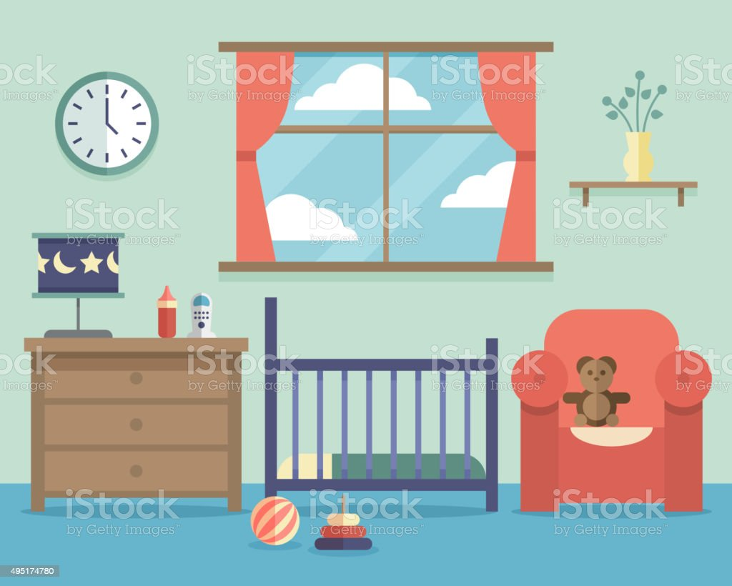 Nursery baby room interior with furniture in flat style vector art illustration