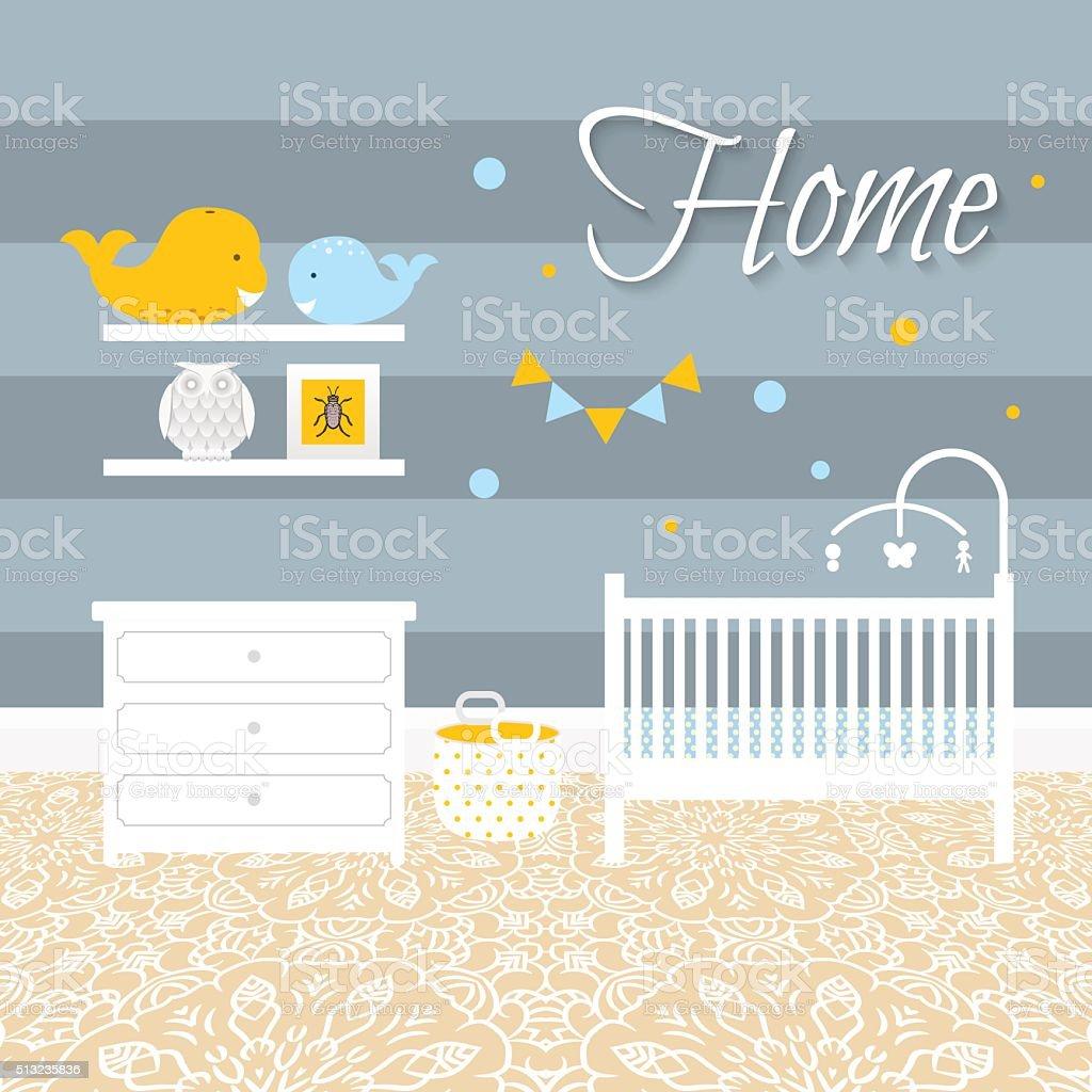 Nursery room with furniture. Baby interior vector art illustration