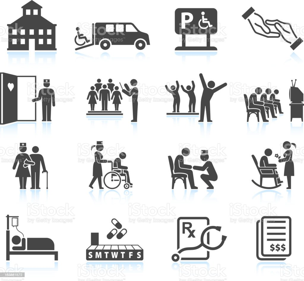 Nursing Home and daycare adult care senior living icon set royalty-free stock vector art