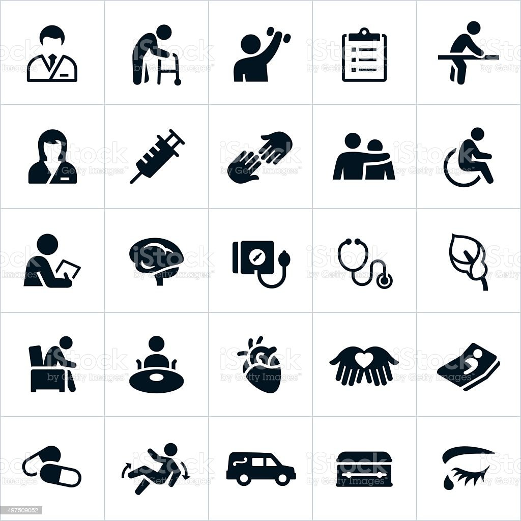 Nursing Home and Hospice Care Icons vector art illustration