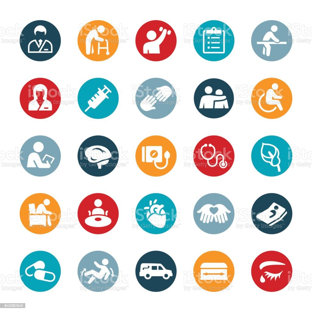 Nursing Home and Hospice Icons vector art illustration