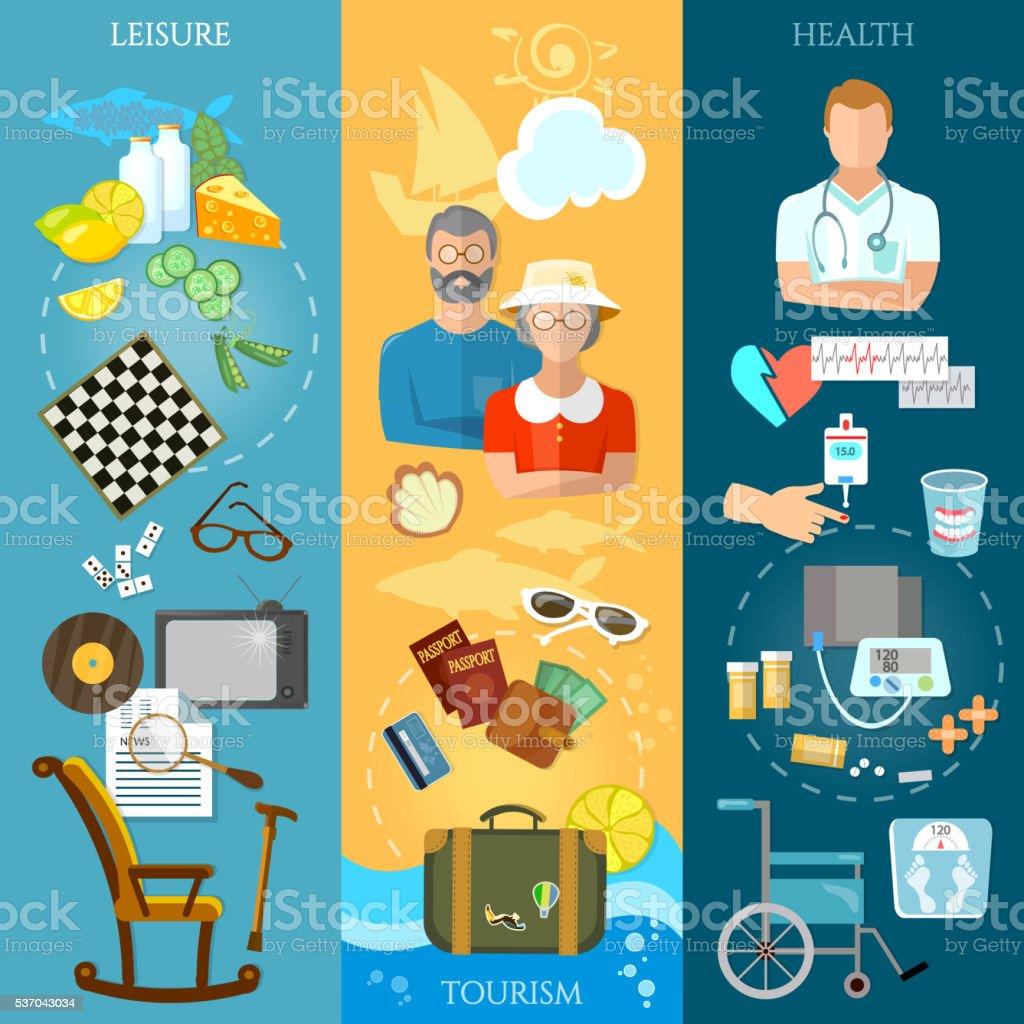 Nursing home banners pensioner active lifestyle social care vector art illustration