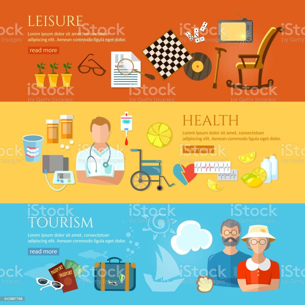 Nursing home banners social care pension hobbies vector art illustration