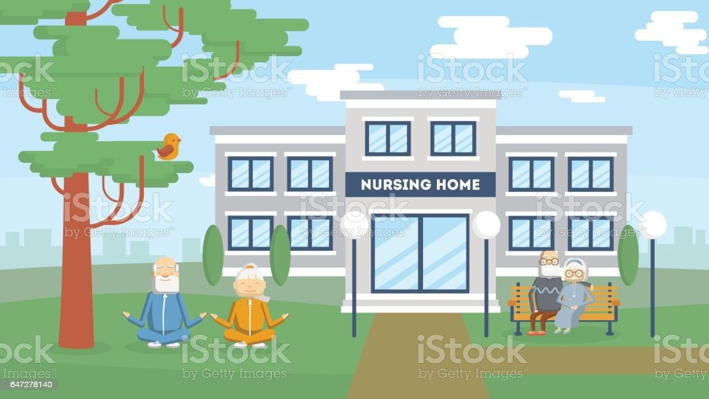 Nursing home building exterior. vector art illustration