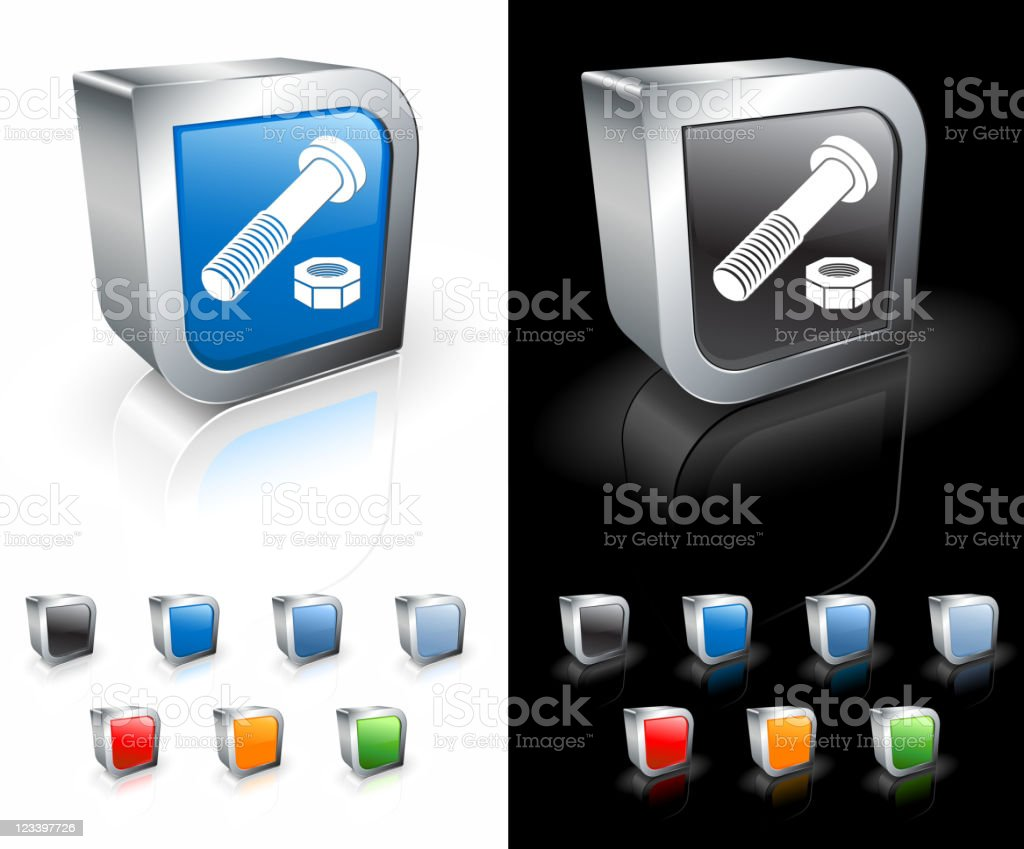 nut and bolt 3D royalty free vector art royalty-free stock vector art