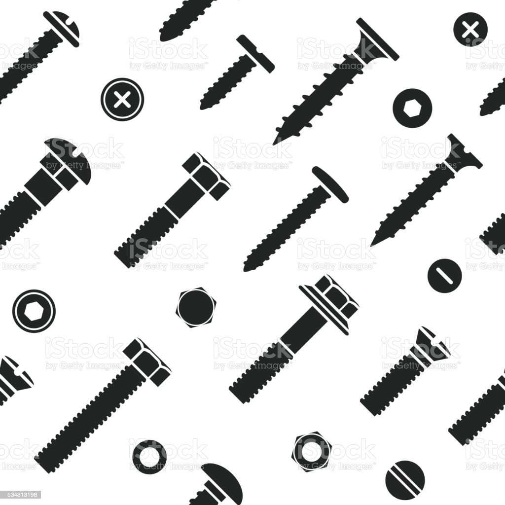Nut and bolt head icons seamless. vector art illustration