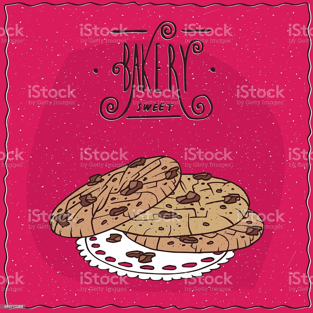 Nut cookies with chocolate chips on lacy napkin vector art illustration