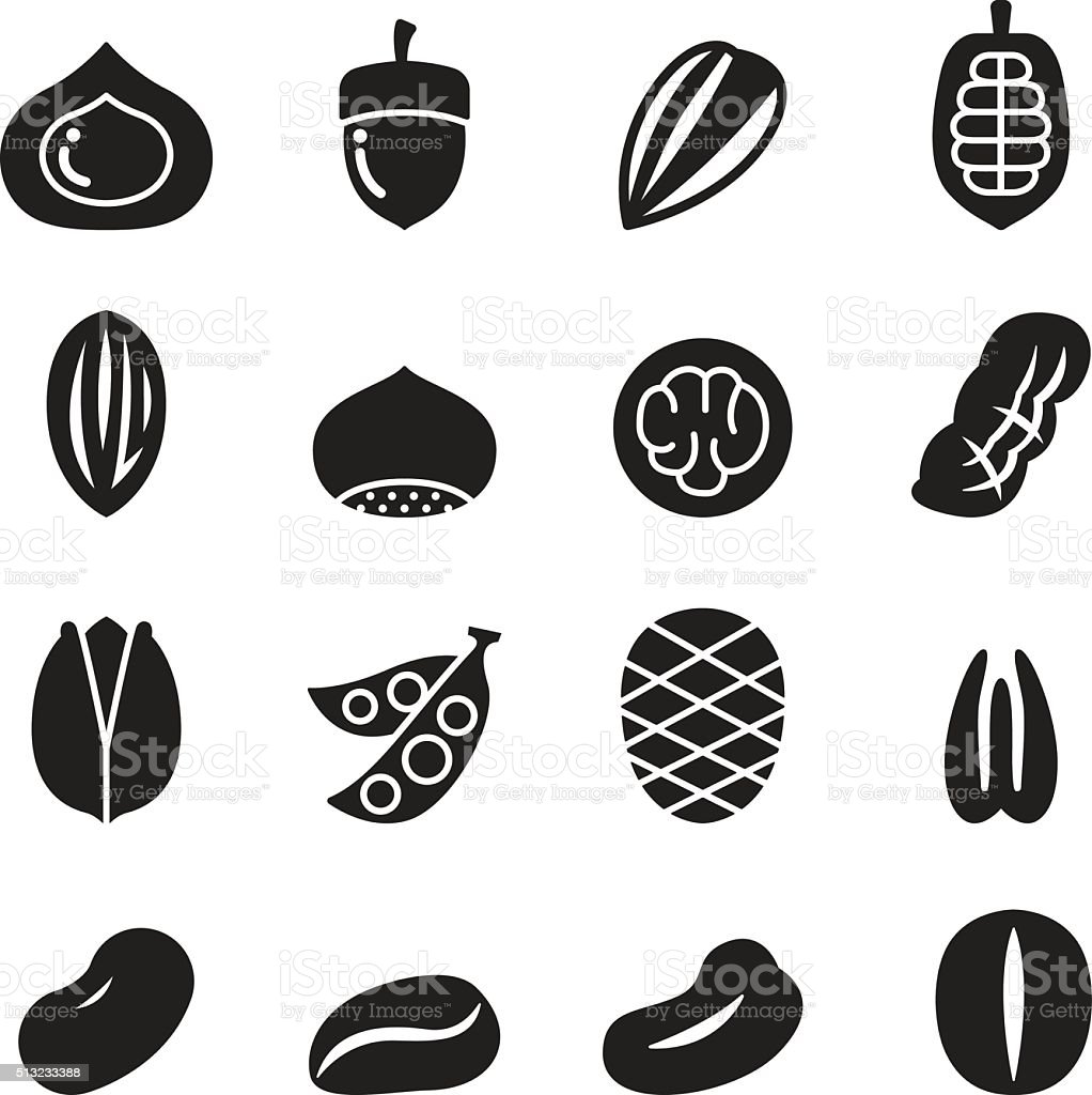 Nut icon set vector art illustration