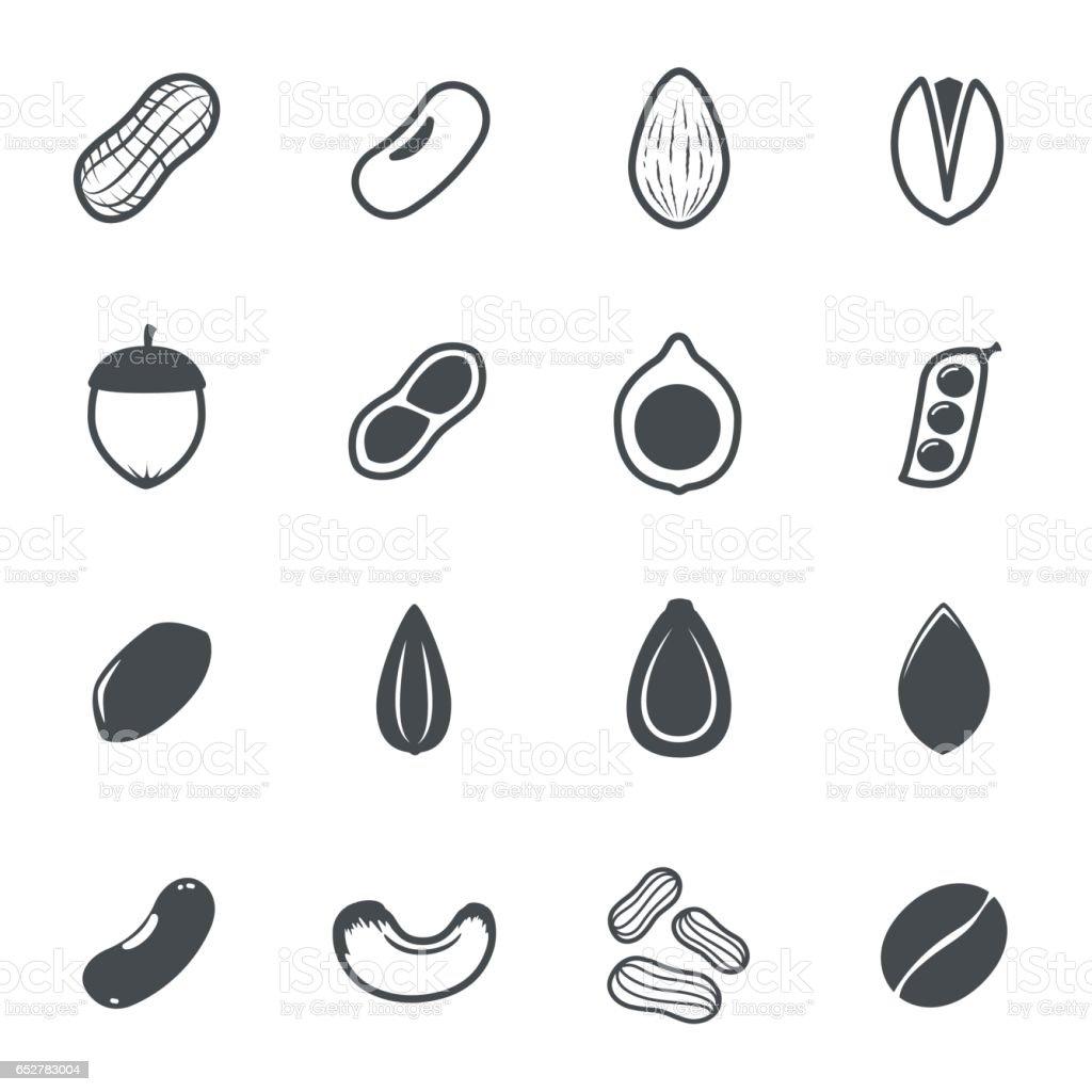 Nut icons. Vector illustration. vector art illustration