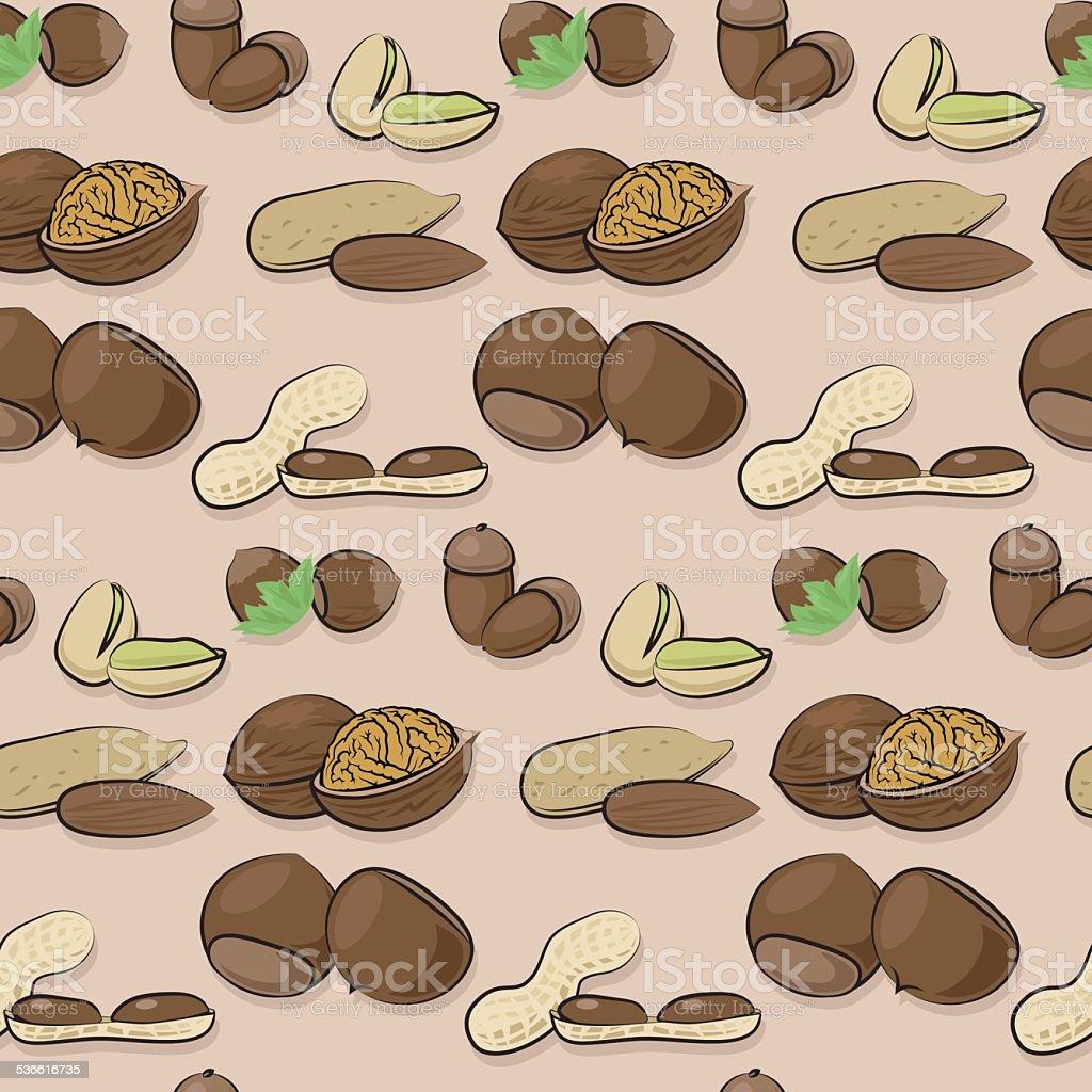 nut seamless pattern vector art illustration