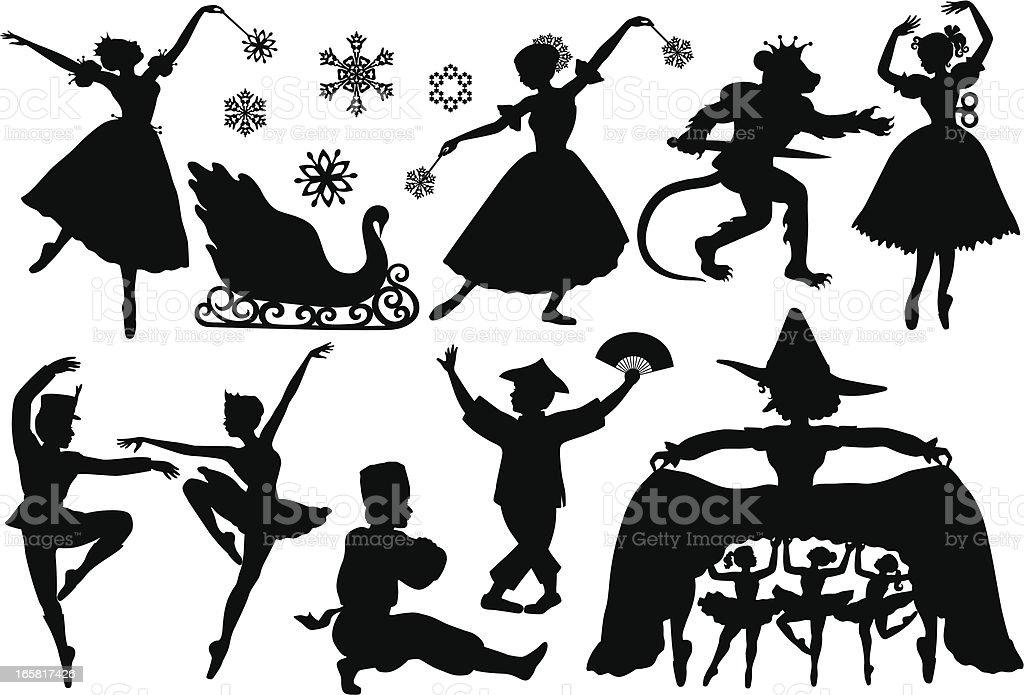Nutcracker Ballet Silhouettes royalty-free stock vector art