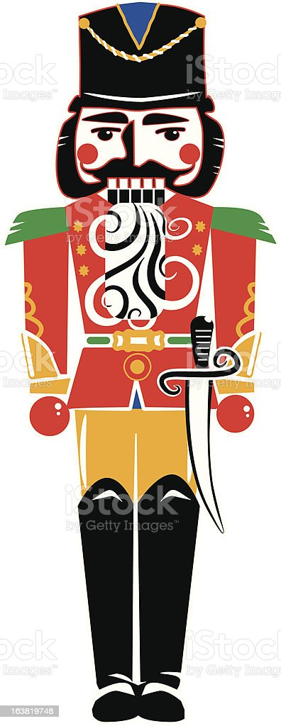 nutcracker doll stylized simple and bold vector art illustration