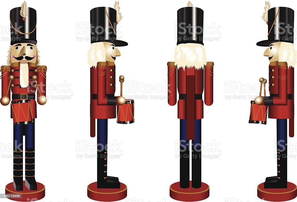 Nutcracker in four angles royalty-free stock vector art