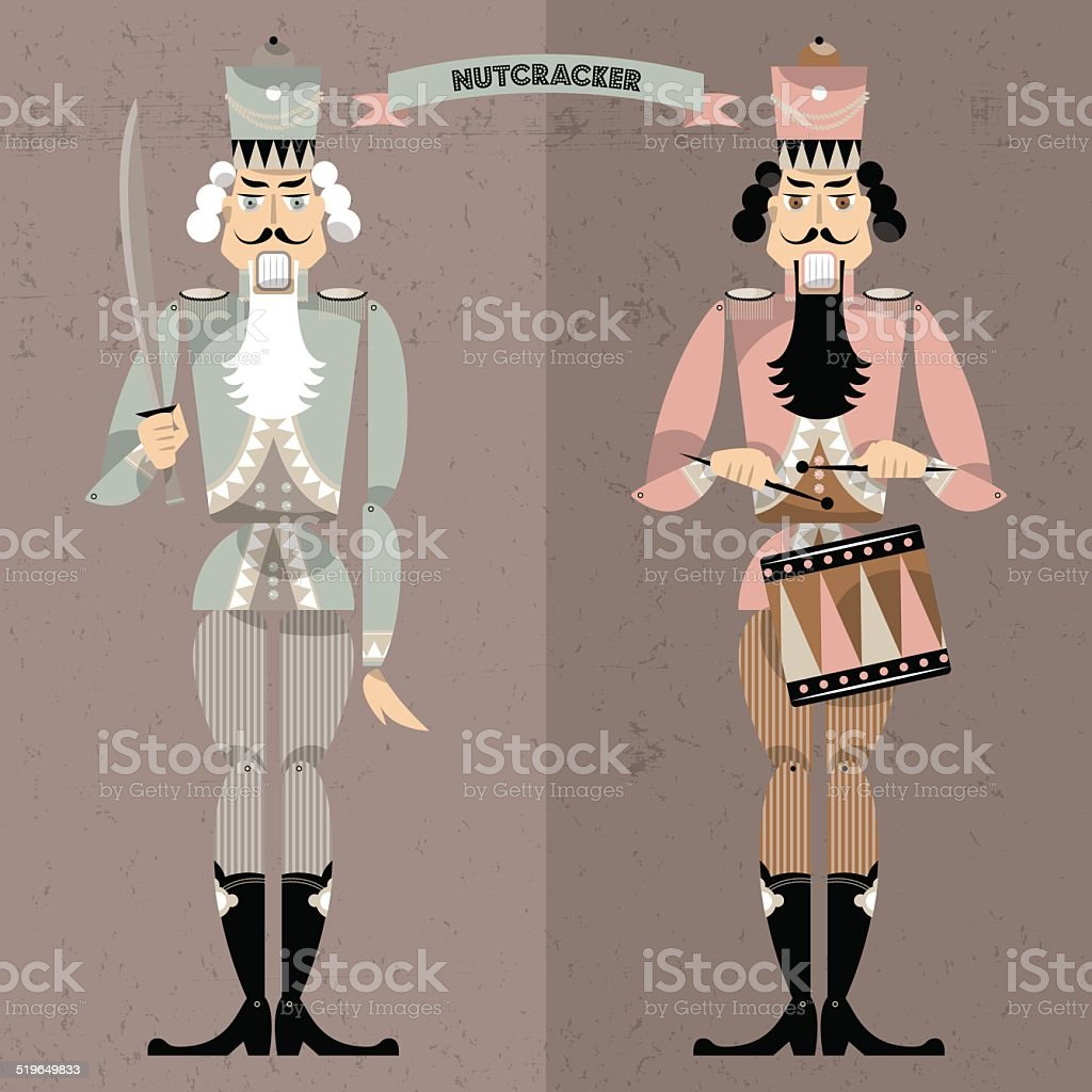 Nutcracker. Retro toys. vector art illustration