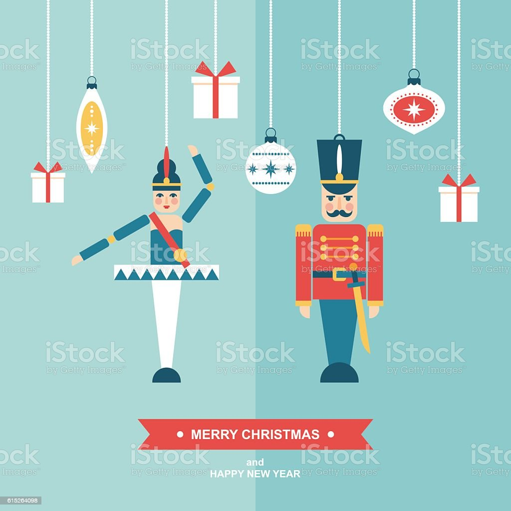 Nutcracker vintage christmas ornaments flat vector illustration vector art illustration