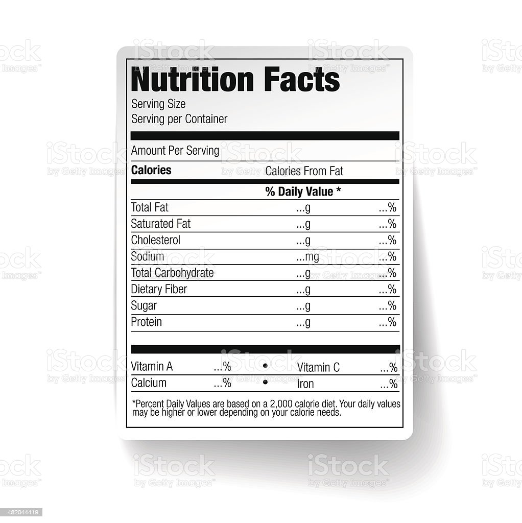 Nutrition Facts Food Label vector art illustration