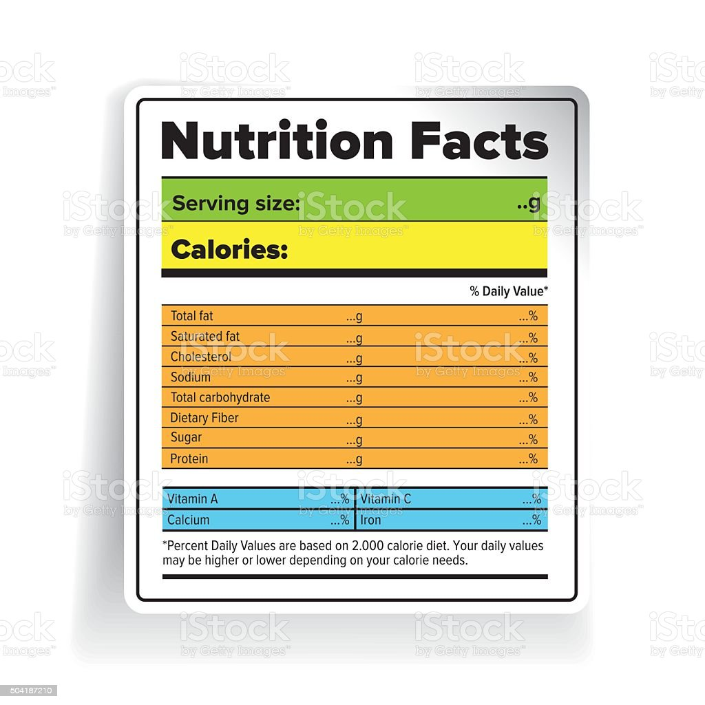 Nutrition Facts label vector color vector art illustration