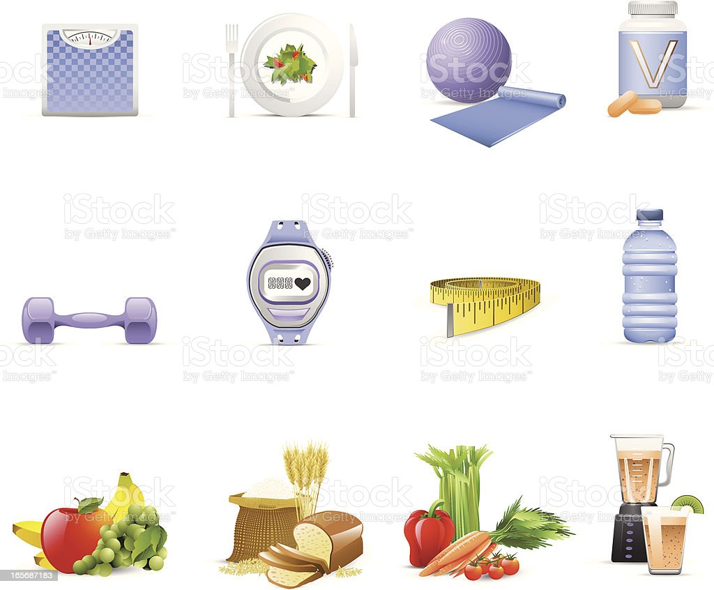 Nutrition & Fitness Icons vector art illustration