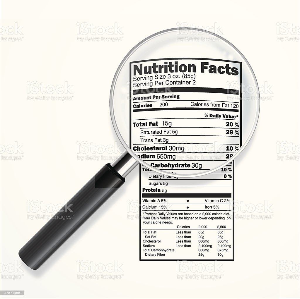 Nutrition label with magnifying lens royalty-free stock vector art